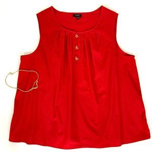 Talbots Red Sleveless Bee Buttons Top Sz 16WP